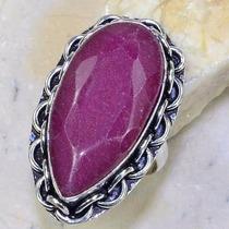 Anel Feminino Prata 925 Pedra Grande Rubi Natural Aro 20