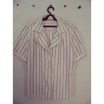 Camisa Feminina Branca Listrada Cód. 54