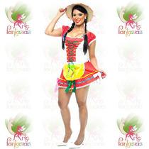 Vestido Junino Adulto Caipira ° Festa Junina ° Flor Verm-b
