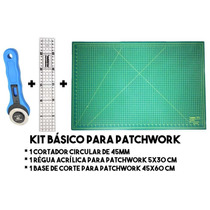 Kit Basico Para Patchwork - Régua, Base De Corte E Cortador