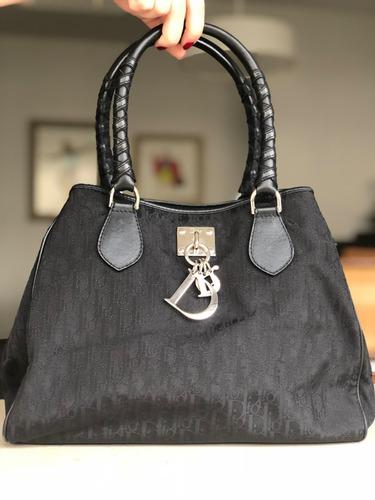 7f6418905 Bolsa Dior Preta Em Tecido E Couro Original