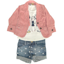 Blazer Veludo Rosa, Camiseta Manga Curta Meninas E Short Je
