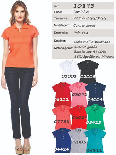 Camisa Pólo Feminina Manga Curta Sem Bolso - Ref. 10893. Camisa Pólo  Feminina Manga Curta ... e4e1884ca746b