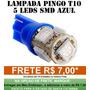 Lâmpada Led Esmagada Azul T10 Hi Power 5 Leds 12v