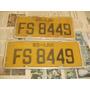Placas Automobilística Antigas Amarelas Fs-8449 Par