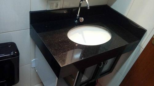 Pia De Banheiro 80x50cm Granito Preto São Gabriel Linda