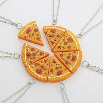 Colar Corrente De Pizza Importado Cordão Melhores Amigos