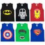 Kit 50 Camisa Camiseta Regata Infantil Homem De Ferro Batman