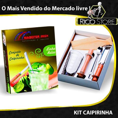 bf78c88e64b75 Kit Conjunto Caipirinha 5 Peças Limão Copo Tábua Socador à venda em ...