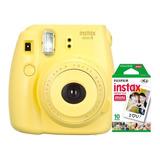 Câmera Instantânea Fuji Instax Mini 9 Amarela + 01 Filme De 20 Poses