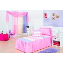 Kit Cobreleito P/ Quarto Menina Solteiro 5pçs Arco Iris Rosa