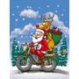Natal Papai Noel Em Uma Motocicleta Bandeira Canvas Casa Tam