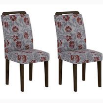 Conjunto 2 Cadeiras Athenas Rufato Wengué/floral Primavera