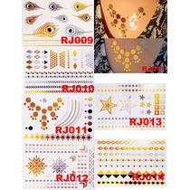 Tattos Flash - Tatuagem Ouro / Gold /metálica 12 Por R$48,90