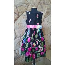 Vestido Infantil Festa/ Aniversario Preto Floral Em Algodão