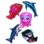 Balão Metalizado Golfinho, Tubarão, Nemo Kit Com 10 Balões