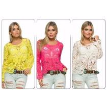 Bata Blusa Camisa De Renda Guipir Crochê Importada Promoção