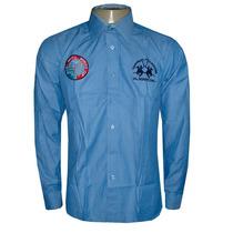 Camisa Social La Martina Azul Médio Italia