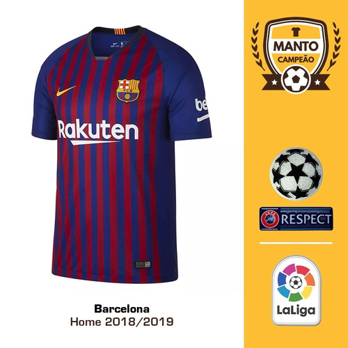 0e24114913 Camisa Barcelona 2018 2019 Home Uniforme 1 Messi Suárez