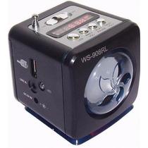 Caixinha Caixa De Som Ws-908 Portátil Usb Radio Fm Pen Drive