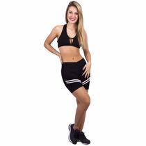 Conjunto Fitness Suplex De Qualidade Top E Short Com Listras