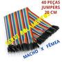 Cabo Jumper Wire 20cm 40 Pcs Fêmea Macho Arduino Cnc