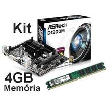 Kit Asrock D1800m Celeron Dual Core 2.58ghz + 4gb Promoção