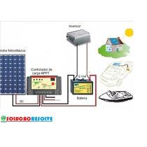 Kit Iluminação Energia  Solar Placa 60w  E Cabos Montado
