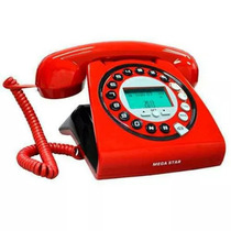 Telefone Retrô Vintage Vermelho Preto C/bina Tipo Intelbras