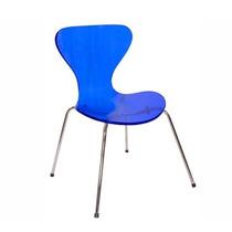 Cadeira Acrílica Jacobsen Tubular Aço Inox