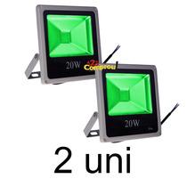 Kit 2 Refletor Holofote Led 20w Verde Ip66 - Frete Grátis
