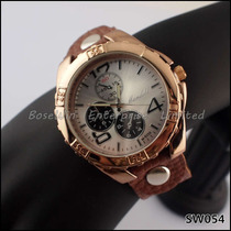 Relógio Unissex Dourado Com Pulseira Em Couro- Frete Grátis