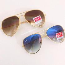 Oculos Ray Ban Aviador 3025 Azul Degradê Ou Marrom