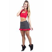 Conjunto Fitness Top Shorts Saia Poá Bolinhas Frete Grátis!!