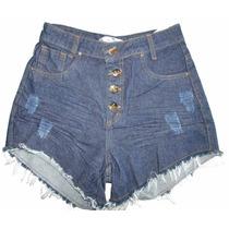 Short Hot Pants Disco Pant Cintura Alta Com Botão Azul