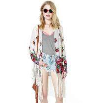 Kimono Cardigan C/ Franjas Longas Florido Estampado Feminino