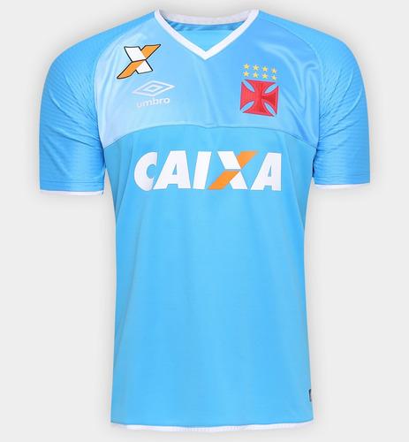 Camisa Goleiro Vasco Da Gama 2017 Umbro Azul Celest E Branca cf105b7d845de