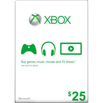 Xbox Live Gift Card $25 - Microsoft Points 25 Dolares Us !