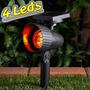 Luminária Solar Jardim Spot Luz Cor Vermelho Super Led