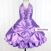 Vestido Festa Princesa Tafetá Várias Cores Tam 4, 8 E 10