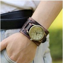 Relógio Quartz Bracelete Masculino Pulseira Larga Em Couro