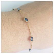 Pulseira Feminina Pedra Azul Joia De Ouro 18k E Elos Cartie