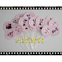 100 Mini Toppers P/ Docinhos - Minnie Rosa - Adriarts