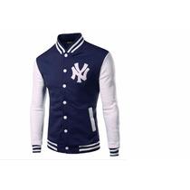 Jaqueta Casaco Colegial Varsity Baseball Ny C/ Capuz