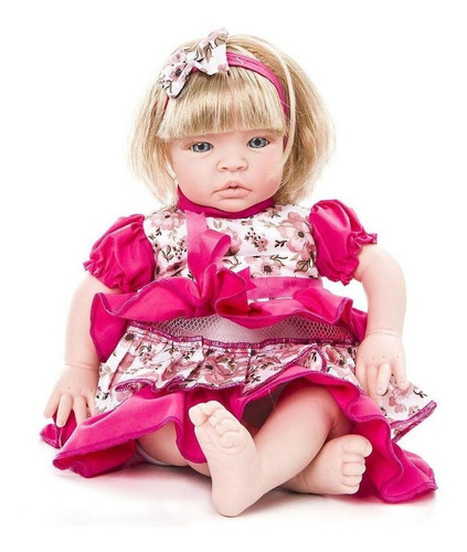 Boneca Tipo Bebe Reborn Barato Menina Loira Baby Kiss