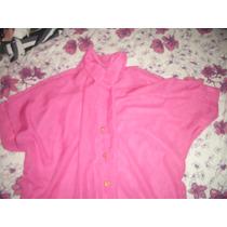 Camisa , Blusa Transparente Rosa G