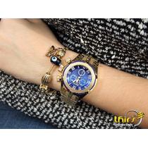 Invicta Bolt Feminino 17158 Banhado Ouro 18k Azul Polido