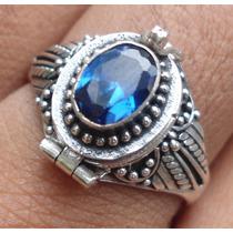 Anél Relicário De Prata De Bali 925 Com Safira Azul Natural!