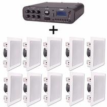Kit Som Ambiente Amplificador Sa20 + 10 Arandelas Dr5034 40w