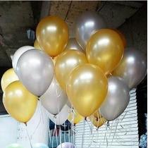 Balão Art-latex Nº9 Ouro E Prata - Bexiga Metalizada 200unid